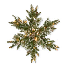 "National Tree Company - 32"" Glittery Bristle Pine Snowflake With 21 White Tipped Cones - Outdoor Holiday Decorations"