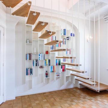 Escalier UP sur alcôve bibliothèque suspendu COLONNE