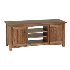 The Oak Furniture Shop - Mission Solid Wood Oak TV Stand With Cabinet, Chesnut - Entertainment Centers and Tv Stands