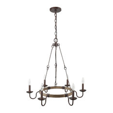LNC 6-Light Chandelier Iron Wired Hook Chain French Country Rust Light