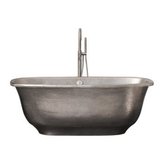 Santorini Freestanding Copper Bathtub, Brushed Nickel