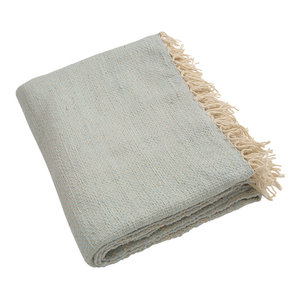 Fringe Blanket, Blue-Grey