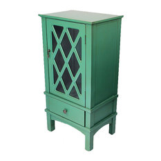 Heather Ann Creations   Cottage 1 Door, 1 Drawer Accent Cabinet With Glass