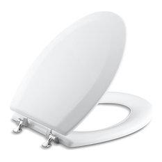 Kohler - Kohler Triko Elongated Toilet Seat With Polished Chrome Hinges, White - Toilet Seats