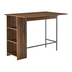 "48"" Counter Height Drop Leaf Table With Storage, Dark Walnut"