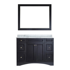 "Bologna 48"" Single Vanity, Espresso, Carrera White Marble, With Mirror"