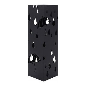 Modern Square Umbrella Stand, Black Metal With Hooks and Removable Drip Tray