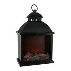 Faux Fire Glow Decorative LED Fireplace Lantern, Black