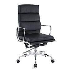 Modern Soft Padded High Back Office Chair, Black