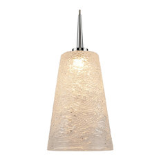 """Bling 2, Pendant, LED, 4"""" Kiss Canopy, Chrome With Clear Glass Shade"""