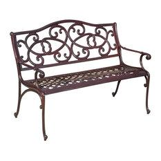 GDF Studio Siena Outdoor Cast Aluminum Brown Copper Garden Bench