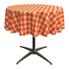 "LA Linen Polyester Gingham Checkered 51"" Round Tablecloth, White and Orange"