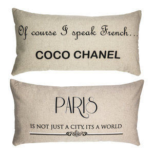 Coco Chanel Quote Paris Double Sided French Linen Pillow Gift for Women