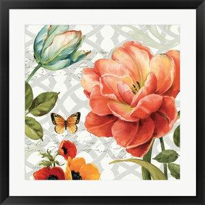 "Floral Story III On Grey, Black Frame, Art Print, 29""x29"""