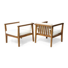 Scranton Outdoor Acacia Wood Club Chairs with Cushions (Set of 2)