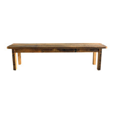 Reclaimed Wood Farmhouse Bench With Smooth Finish 46-inchx13-inchx18-inch