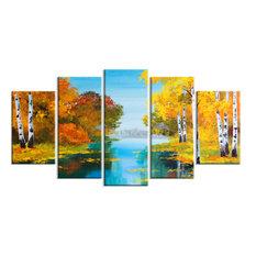 """Birch Forest Near the River"" Landscape Canvas Print"