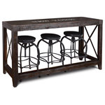 Crafters and Weavers - City Collection Console Table - New York - The City Collection features rustic black painted wood with metal accents and stenciled text from major cities in the United States