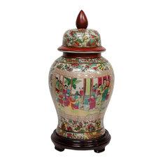 """18"""" Rose Medallion Porcelain Temple Jar"""