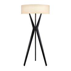 Sonneman 6152.25 Satin Black Bel Air Large 3 Light Floor Lamp with Cream Shade