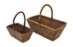 Pair of Nesting Wooden Baskets