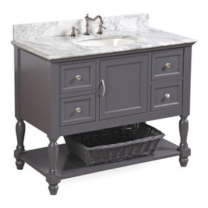 "Beverly Bath Vanity, Base: Charcoal Gray, 42"", Top: Carrara Marble"