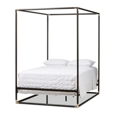 Modern And Contemporary Dark Bronze Metal Canopy Bed