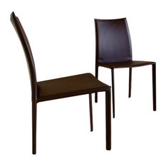 Baxton Studio Rockford Brown Leather Dining Chair, Set of 2
