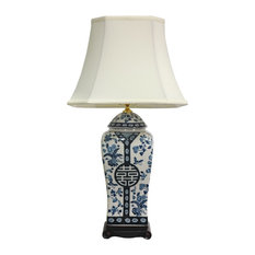 "26"" Floral Blue and White Vase Lamp"