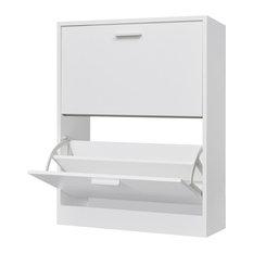 vidaXL - VidaXL Wooden Shoe Cabinet With 2 Compartments, White - Shoe Storage