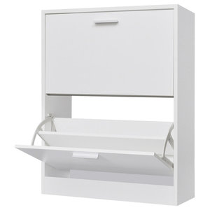 VidaXL Wooden Shoe Cabinet With 2 Compartments, White