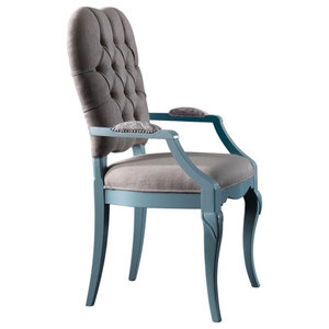 AIX Buttoned Light Blue Dining Chair, No Decoration, With Armrests