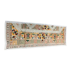 Mogul Interior - Consigned Ethnic Boho and Sari White Patchwork Mirror Embroidered Tapestry - Table Runners
