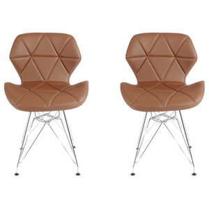 Contemporary 2 Chairs Set, Chrome Metal Legs and Faux Leather Padded Seat, Brown
