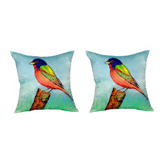 Pair of Betsy Drake Painted Bunting No Cord Pillows 18 Inch X 18 Inch