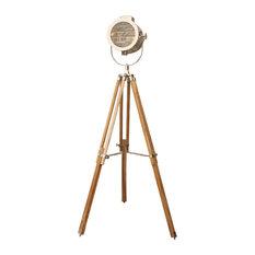 Nautical Signal Tripod Floor Lamp, Blond