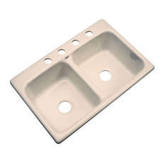 SolidCast - Charleston 4-Hole Kitchen Sink, Peach Bisque - Kitchen Sinks