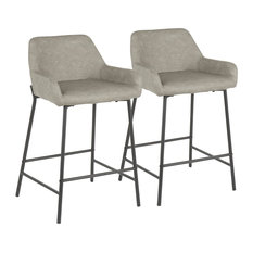 Daniella Industrial Counter Stool In Black Metal And Gray Faux Leather Set Of 2