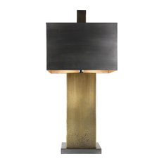 Minimalist Rustic Pitted Bronze Table Lamp Modern Industrial Metal Square Brass