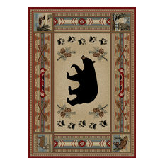 """Mayberry Rugs - Woodlands Bear Rug, 5'3""""x7'3"""" - Area Rugs"""