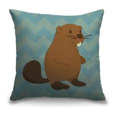 """Beaver - Woodland Creatures"" Outdoor Pillow 16""x16"""