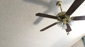 Texture ceiling and fan installation