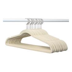 Closet Complete 50 Pack Velvet Hangers with Chrome Hooks, Ivory