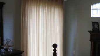 Master Bedroom - pleated sheers on estate rods