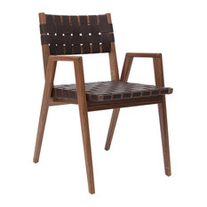 Woven Leather Dining Chair Arm Chair