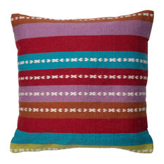 """Blue, Purple, Red, Orange, Green Indoor Outdoor 22""""x22"""" Pillow by Loloi, Poly In"""