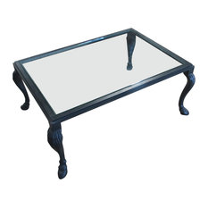 Equestrian Coffee Table With Glass Top Aged Black