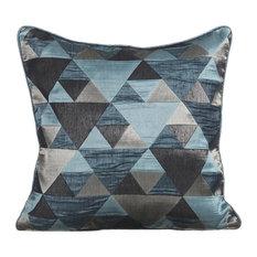 Blue Decorative Cushion Cover, Silk, Teal Origami, 50x50 cm