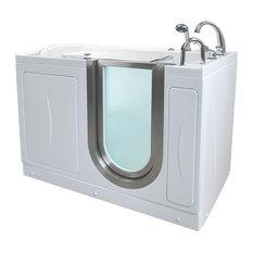 "52""x28"" Acrylic Walk-In Bathtub, Right, Microbubble Therapy, Roman Faucet"