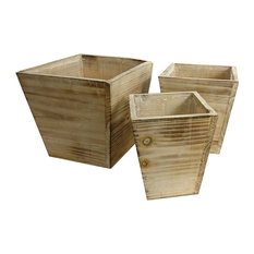 Admired By Nature Square Wood Pots/Planters With Liners, 3-Piece Set, White